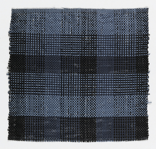 Warp: light blue and balck ravana. Weft: light blue and black ravana. Striped warp and bands of weft and toned checks.