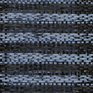 Warp: light blue and black rovana. Weft: light blue and black ravana. Intercrossing of two weft-faced plain weave fabrics to form an alteration of narrow blue on black bands. Note warp color for check effect and twists in weft for texture.