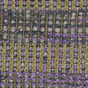 Plain weave with combined warps and combined wefts. Warp has a group of two brown boucle and two-ply brown yarns that alternates with two-ply brown yarn. Weft has flat gold metallic paired with wrapped gold metallic yarns that alternate with a combination of smooth gray yarn, green plied yarn and purple boucle.