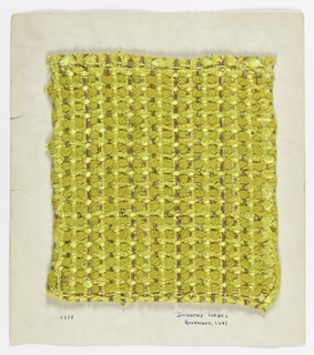 Sample with supplementary warp threads of heavy yellow and a paired gold braid which appear on both faces over three and under one. Foundation warp.