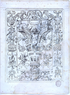 In the middle is a vertical oblong, with a woman standing in a scrollwork structure. A recumbent cat is above the upper scrolls at left, a child at right. The frame is decorated laterally with candelabra, which have women standing atop of canopies in the upper sections, from which ribbons hang with crossed legs and crayfishes. In the center of the upper framing strips are storks beside a pedestal with satyr masks. Below are two stags running beside a vase.