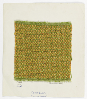 Warp is green boucle alternating with green two-ply yarn. Weft is a repeating sequence of orange chenille, orange smooth yarn, and yellow boucle paired with flat brown plastic yarn.