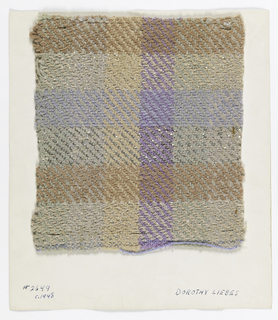 Twill weave in muted colors. Warp is stripes of seventeen ends, each green, gray, light brown and light purple boucle. Weft is a repeating pattern sequence of seventeen gray chenille yarns with flat metallic yarns, sixteen brown chenille yarns, nineteen flat metallic with narrow gray ratiné yearns, and fourteen blue chenille yarns.