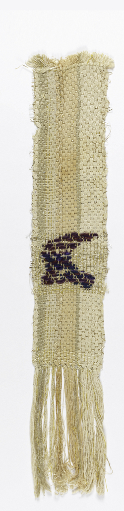 Handwoven sample in tan and metallic threads with brocading in shades of purple.
