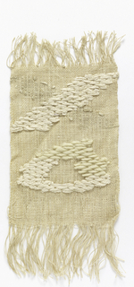 A sample of handwoven plain weave in natural linen with brocading in four different off-white yarns.