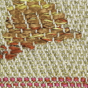 A sample of metallic gold and white with brown, gold and red silk brocading. Sample set into heavy paper mount.
