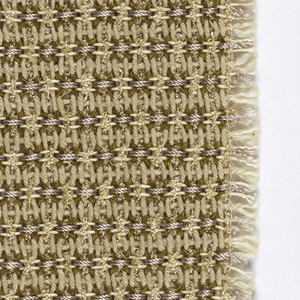 A hand woven sample in shades of tan.