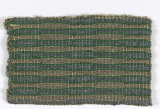 a. Woven in tan, green and pale blue. b. Woven in pale violet and two shades of red.
