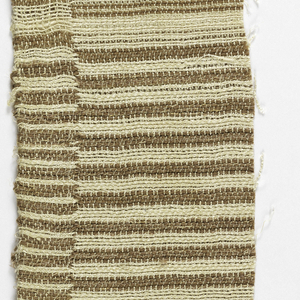 Handwoven samples woven of double cloth with narrow bands of brown and white.  A few of the bands have grey/blue instead of brown.