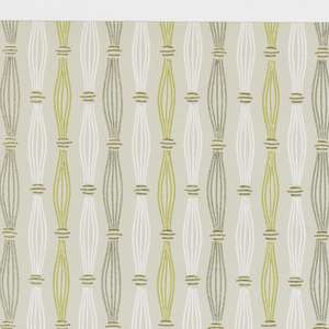 Bunches of five vertical lines, white, chartreuse and greenish gray, held together by three short horizontal lines, on pale grayish ground.