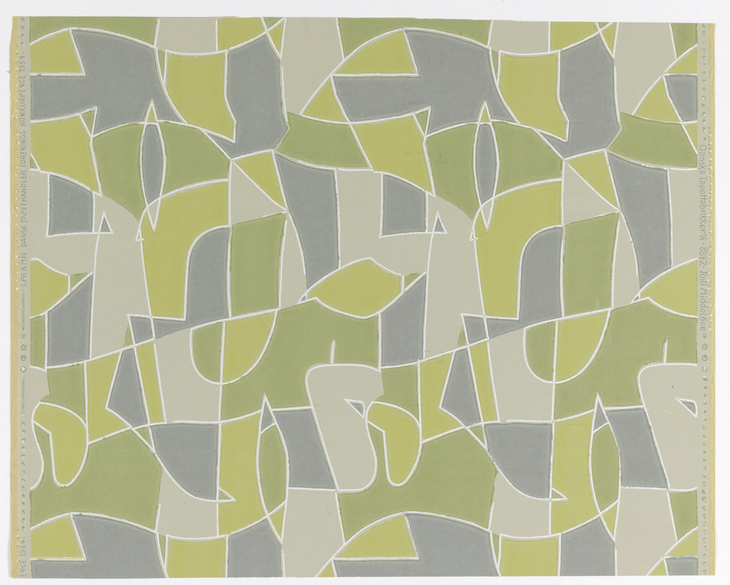 "Abstract pattern of chartreuse, green, bluish green and gray (bottmom), outlined with white. Repeat 383 mm. Printed in left selvedge: ""1. Praemie Dansk Tapethandler Forenings Konkurrence 1954""; in right: ""Danske Tapet- farikker A/S - 3842 - Rolf Middelboe""."