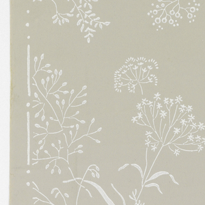 "Fine sprays of Queen Anne's Lace and similar plants in white on gray ground. On right selvedge: ""Kolbes Tapetfabrik Copenhagen."""