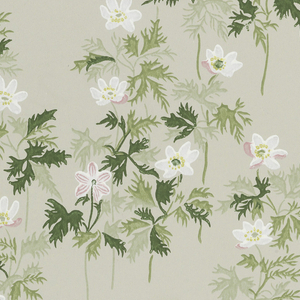 "White and pink wild anemones, with leaves and stems in three shades of green, on gray ground. Printed on left selvedge: ""Copenhagen Denmark"", on right: ""Dahls Tapetkunst Bent Karlby>Anemone<."