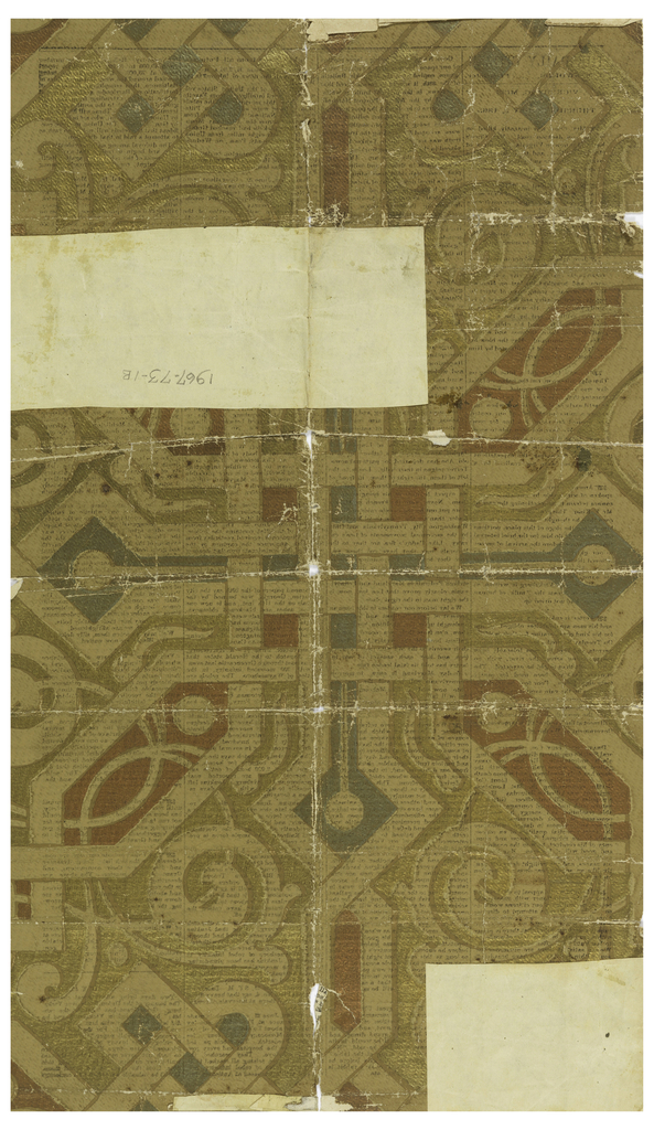 On light brown background, through which newsprint of verso is visible, geometric design of interlacing wide bands and vines. Metallic foil (?)-like coloring with shallow embossed texture in gold, copper and greenish-silver color. On verso: a later reproduction of a newspaper dated Vicksburg, Mississippi, July 4, 1863 is printed.