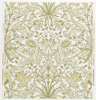 """Hyacinth"" pattern printed in green and mustard on white. Sample number stamped on verso: 138620."