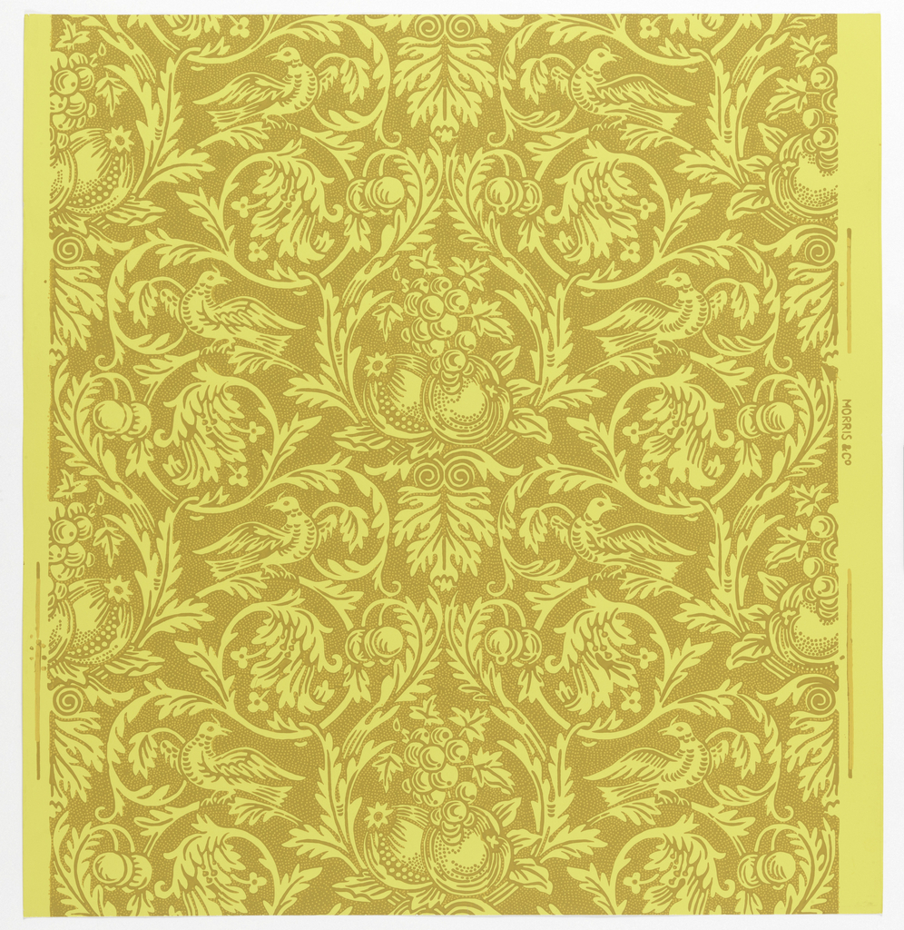 """Queen Anne"" pattern, seven samples printed in ochre on yellow ground. Sample number on verso: 134910."