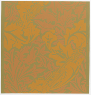"""Bruges"" pattern; a/h: printed in blue and green on blue. Sample number stamped on verso: 134660; i/o: printed in oranges on tan. Sample number stamped on verso: 138750."