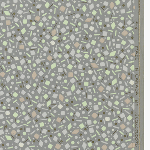 Small dots, circles, and diamonds of pink, green, white and gold on a grey ground.