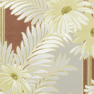 Grey and maroon stripe background. Daisies and grey leaves on an ungrounded paper.