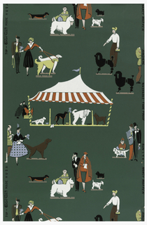 Scenes of a dog show with a red and white circus tent and people with their dogs. Printed in red, yellow, white, pink and black on a dark green ground.