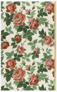 White background with red roses and green leaves.
