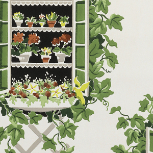 Grey trellis connecting windows with opened shutters and flowerpots on shelves with red flowers and a yellow butterfly. Green ivy leaves surround the windows; objects on a white ground.