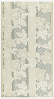 Beige, white and green floral stripe on beige ground.