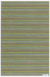 Horizontal bamboo stripe of brown, pink, and lime green on a grey ground.