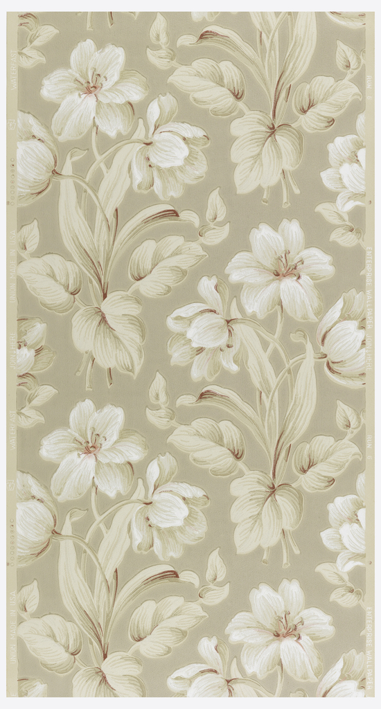 White and tan flowers with red on a beige ground.