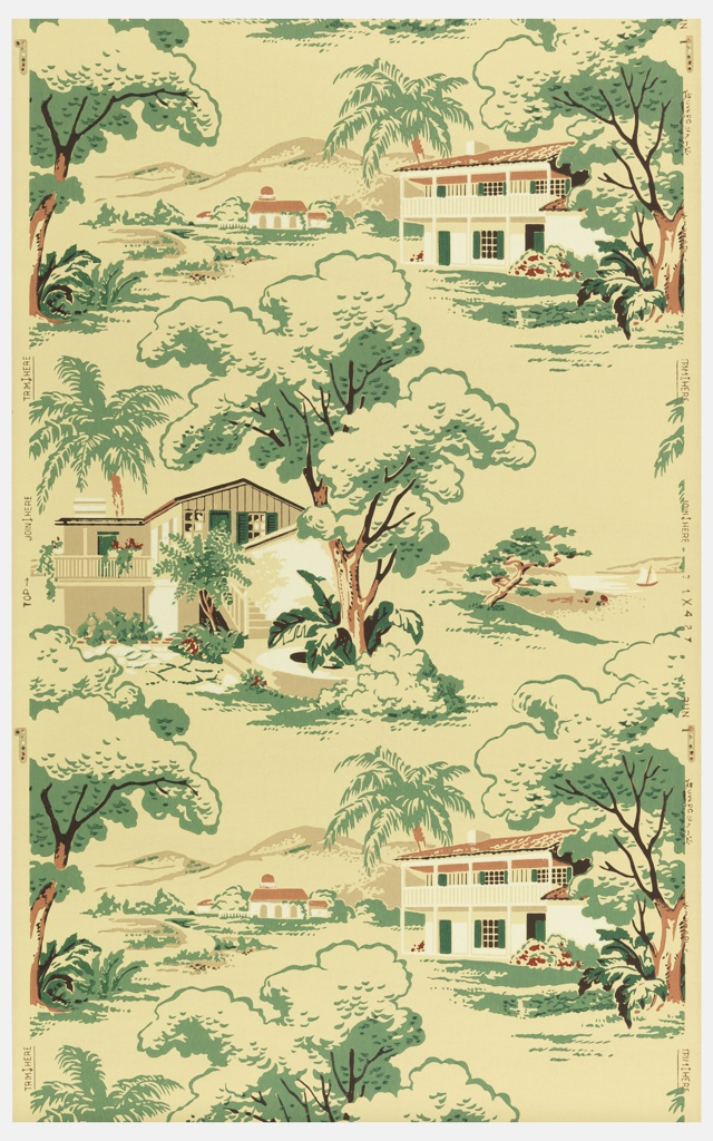 Landscape in vertical repeat of white and tan ranch homes with green trees and mountains in background. Printed on a yellow-tan ground.