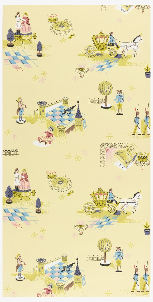 Childrens paper with scenes from Cinderella including a palace, guard, and coach with horses. Printed in blue, pink, green, white, and black on a yellow ground.