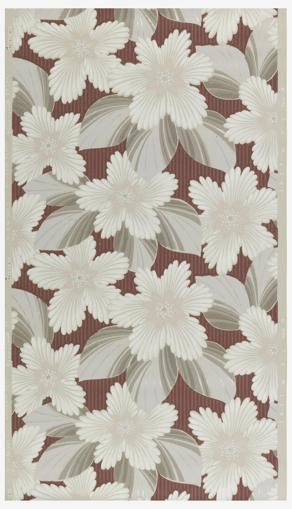Background of dark rose stripe with large white flowers with grey and metallic silver leaves on a beige ground.
