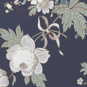 Light green pagodas and large white peonies running vertically and bordered by a grey and white stripe on a blue ground.
