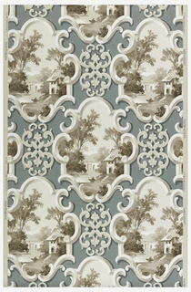 A blue background with taupe and white pastoral scenes in small cartouche with connecting scroll work on a beige ground.