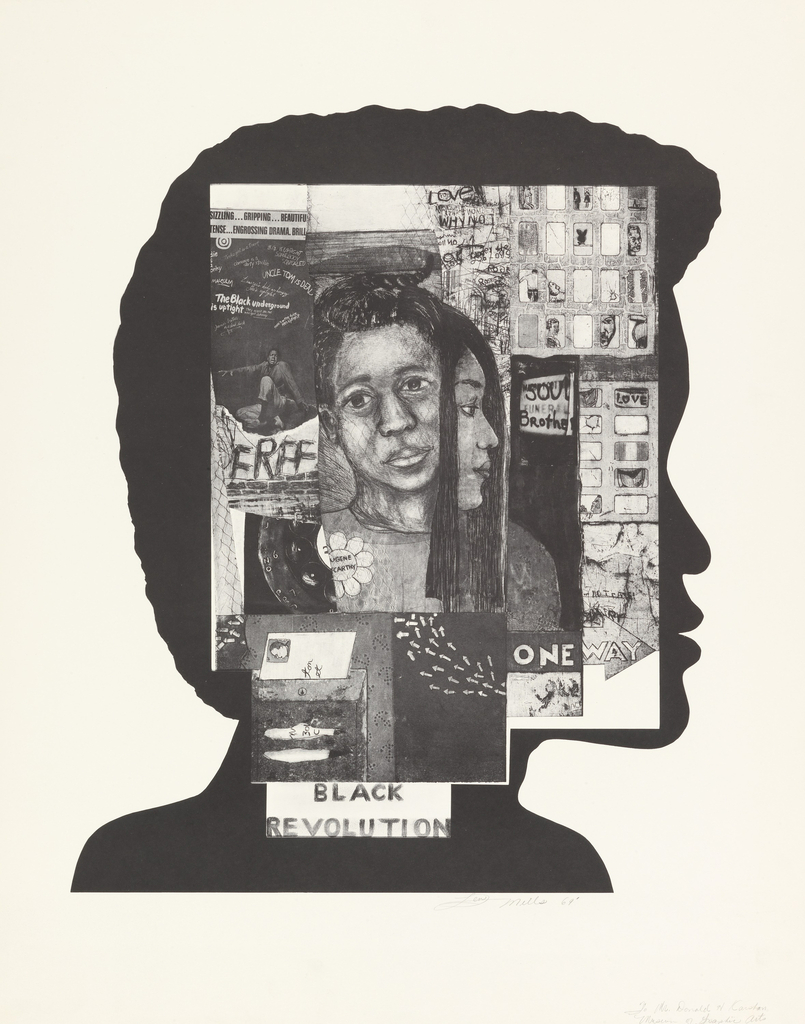 "Vertical rectangle. Profiled silhouette of African-American male figure. Within figure's face, several black and white collage drawings overlaid.  Images feature figures, city apartment buildings, and words, including FREE, SOUL Brother, Love, and ONE WAY. ""Black Revolution"" is printed at bottom. Composite images form a rectangle over the profile."