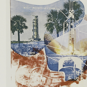 Poster featuring collaged image of rocket ship for National Air and Space Museum.