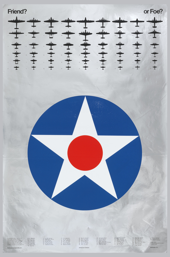 Smithsonian poster featuring silhouettes of military aircraft, with descriptions of each below.
