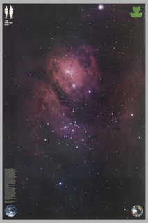 Galaxy Image with white male and female silhouettes, upper left, a green leaf upper right, planet earth at lower left, and crystal orb at lower right. Imprinted in white, upper left: The Stars are in us; in white, lower left, in 39 lines: Why study the stars?[...]we may not be alone./National Air and Space Museum/ Smithsonian Institution/ Washington D.C.;