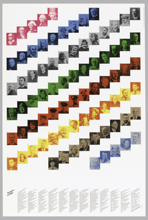 Poster depicts stepped bands in diagonal composed of portraits with different colored overlays; below, imprinted diagonally in black ink, lower left: Pioneers of Flight;in black ink arranged in columns across lower section and numbered from 1 through 80: name, birth, and deathdate, and accomplishment Jacques Etienne Montegolfier(1745-1799) Invented first/balloon 1783...at LR: 80. Sergei P.Isorolyev / (1906-1966) Directed design of Sputnik...