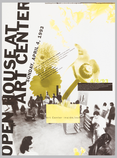 Poster features a black and white photograph of several people in a room, standing around. Allover text; overlapping photos of flowers in yellow.