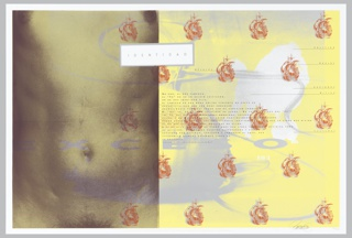 """Image is bisected to left of center. At left a close up of a female torso viewed through a gray-green scrim. At right a medical apparatus in gray is seen on a yellow ground. Red and gray images of a 16th century sailing ship are scattered across sheet. At top center a white rectangle with the text """"IDENTIDAD"""". """"EXCESO"""" in gray is stretched across sheet at center. At center and at right, overlapping Spanish and English text, printed in gray, red and black."""