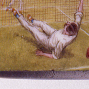 Rectangular, snuff box type container, lid featuring polychrome enamel decoration of doubles tennis game. Two couples play on green grass court. Male, with back to viewer, has fallen mid-swing, his cap on the court beneath him. He has dark brown hair, wears white shirt, white pants, brown and white shoes. His female partner, racket raised, wears long pink skirt, light brown blouse, blue cap, brown shoes. Couple on far side of the net, dressed similarly, he in whites, she in long blue and white striped skirt, pink blouse. Shrubbery in background set against pink and blue sky. Reverse inscribed with the initial W. Lid hinged on back panel. Striker on right panel.