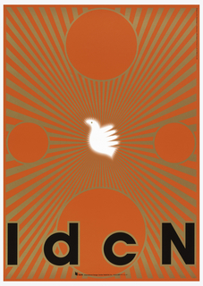 "In center, logo of IdcN, profile view of bird, in white with glowing effect produced by blurring the edges on red background.  Gold rays diverging from central logo to all edges of poster.  Four circles of different size in gold outline at each side of poster with two of the larger ones at top and bottom and two of equal size at left and right.  ""IdcN"" across bottom in black with gold outline."
