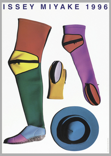 Photos of winter accessories.  Boot up to leg made of diving suit fabric in patchwork style on left side: red for thigh area, yellow for knee area, green for lower legs, pink and blue for feet, and clear soles.  Yellow mitten with lavender zippered compartment in center.  Long mitten in fuchsia with zippered compartments at upper right side.  Aerial view of hat in blue-green at lower right.