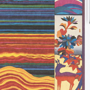 Area of various conjoined lines in different colors, creating an abstracted landscape. On right margin, small depictions of flora and birds.