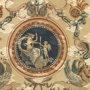 Small fragment of cream-colored fancy satin ribbon with a printed design of two griffins holding swags of drapery in their mouths. Above them is a round medallion enclosing a nymph and cupid. At top, scrolling acanthus draperies and a mascaron. Printed in shades of brown and blue.