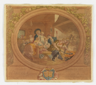 Cotton with polychrome printing showing a seventeenth-century style genre scene within a cartouche. A women cooks beignets (fritters) over an open fire, surrounded by children.  Above, a fruit vine; below, a crowned coat of arms.
