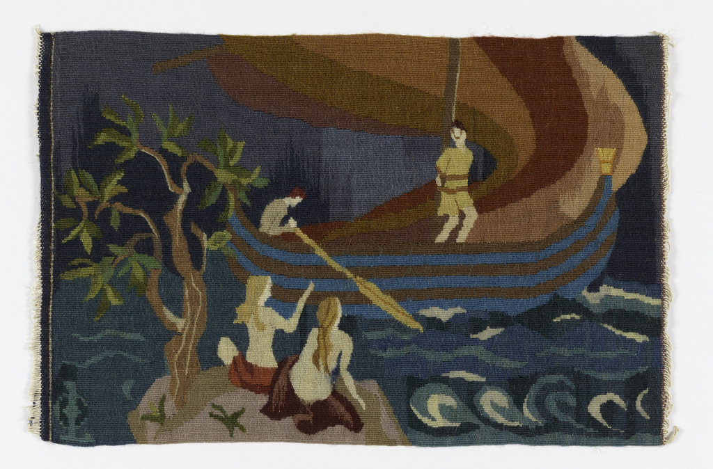 """Scene showing two of the sirens seated on a rocky shore with a large tree to the left. Boat in the background with two men, one rowing and the other, Ulysses, tied to the mast. Blue waves swirl between the rocks and boat. Intersecting """"LC"""" in lower left hand corner."""