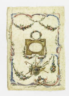 Four painted panels for sides of pocketbooks. Cream white taffeta painted in light colors. A and B) Show center of frame with wreath above, basket of flowers, below. Border of swags and curves. C and D) show centre medallions with cupids, crossed quiver and torch below and emblems. Border of flowers and broken curves.