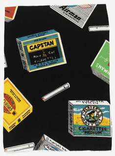 Packages of cigarettes (Players and Capstan are identifiable) in bright colors on black.